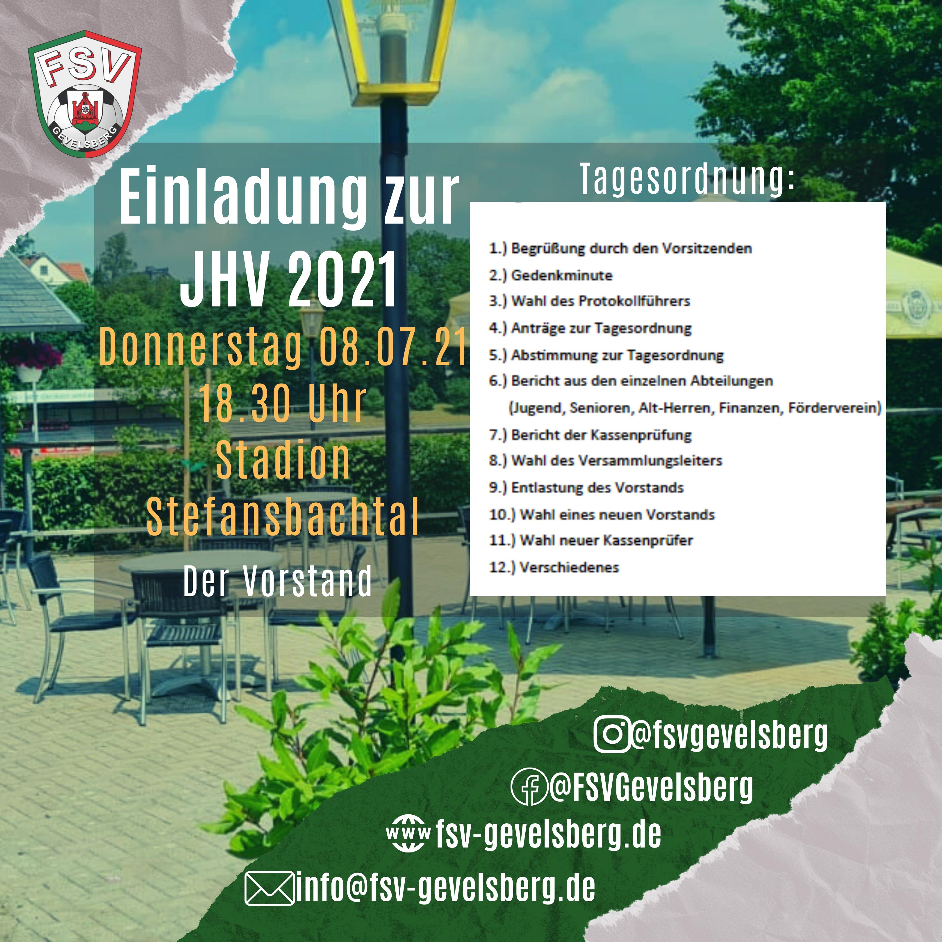 Einladung zur Jahreshauptversammlung am 08.07.2021