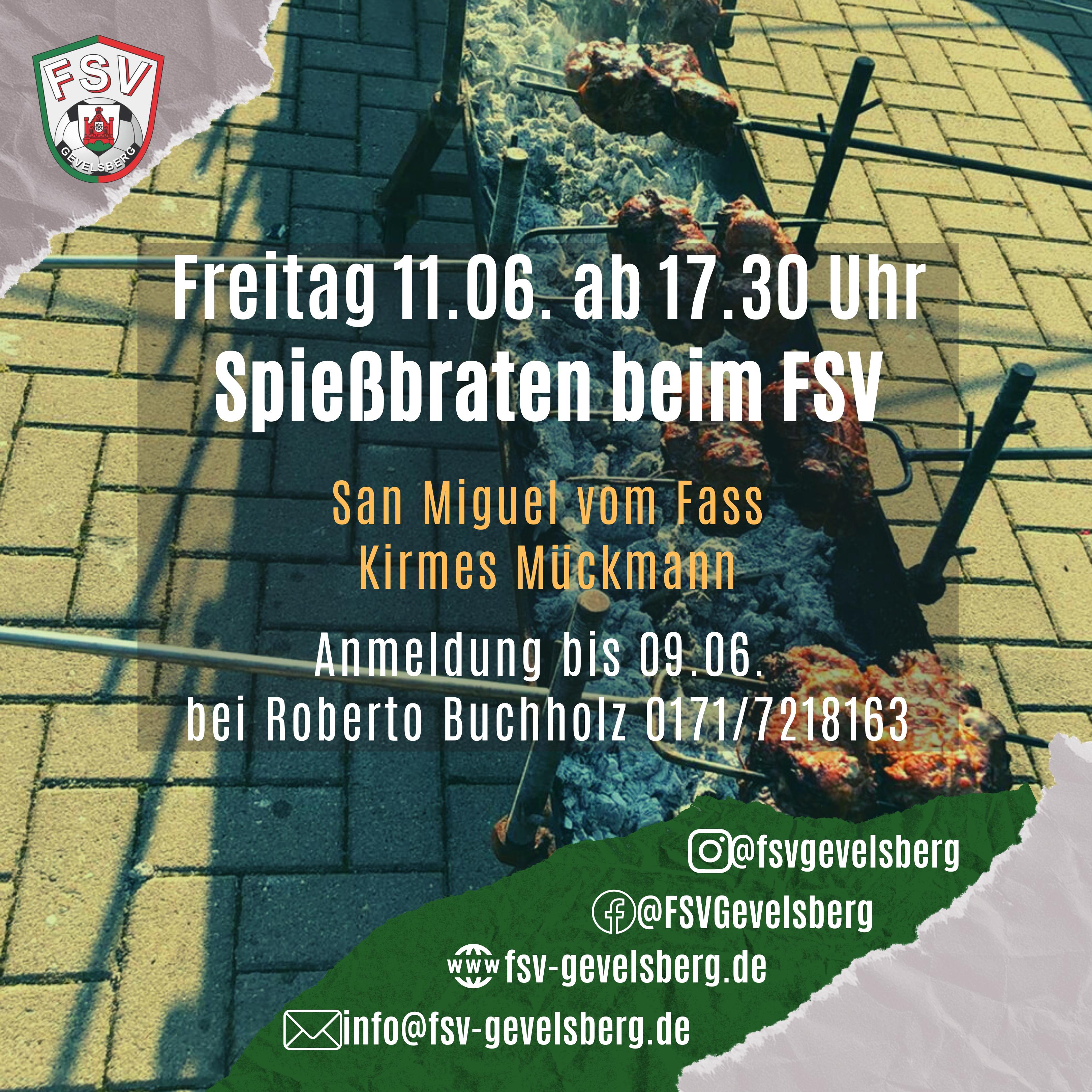 Freitag 11.06. – Spießbraten beim FSV – Mit Anmeldung!